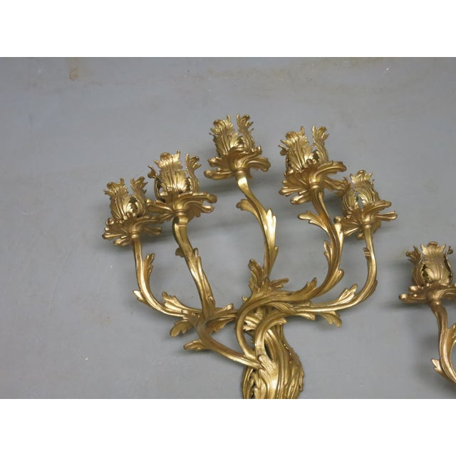 Early 20th Century Gilt French Sconces Louis the XV Style - a Pair For Sale - Image 4 of 8