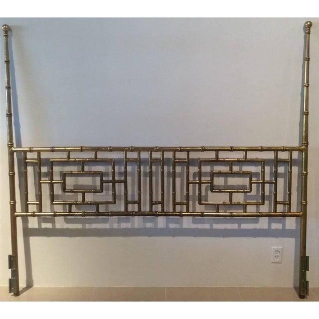 Vintage Faux Bamboo Chinese Chippendale King-Size Headboard For Sale - Image 10 of 11
