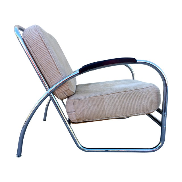 Kem Weber Style Deco Chrome Chair by Royal Metal For Sale