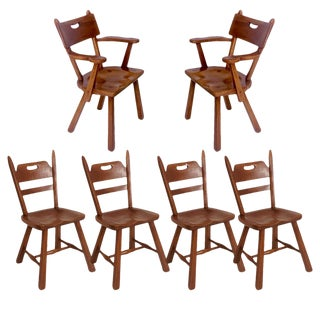 Set of 6 Cushman Vermont Rock Maple Dining Chairs Designed by Herman DeVries For Sale