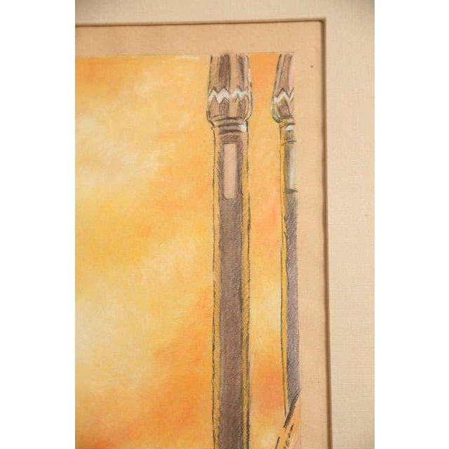 One of a Kind Art Deco Watercolor by Eduard Chimot Custom Framed For Sale - Image 9 of 11
