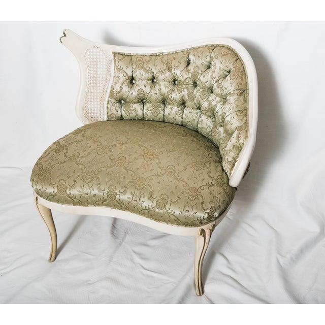 French Rococo Revival Tufted Chair For Sale - Image 3 of 11