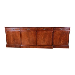 Monumental English Banded Inlaid Flame Mahogany Sideboard or Bar Cabinet by Norfolk Manor For Sale