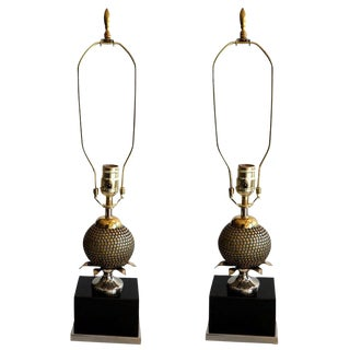 1950s Mid-Century Modern Maison Charles Pomegranas Table Lamps - a Pair For Sale