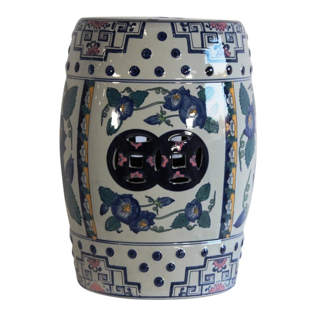 2010s Modern Contemporary Blue & White Floral Porcelain Garden Stool For Sale - Image 5 of 7