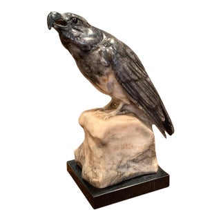 19th Century French Carved Grey Marble Eagle Sculpture on Stand Signed Stuhmer For Sale