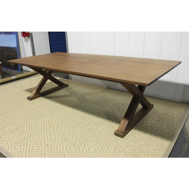 2010s Custom X Base Dining Table For Sale - Image 5 of 10