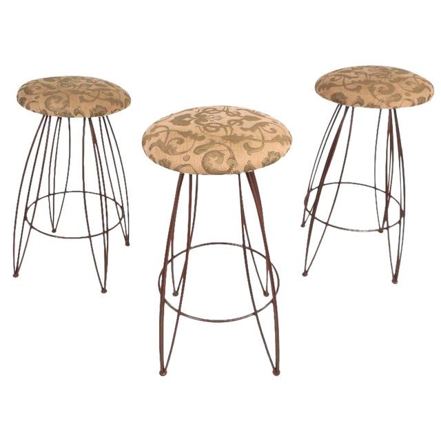 Mid-Century Modern Wrought Iron Bar Stools - Set of 3 For Sale