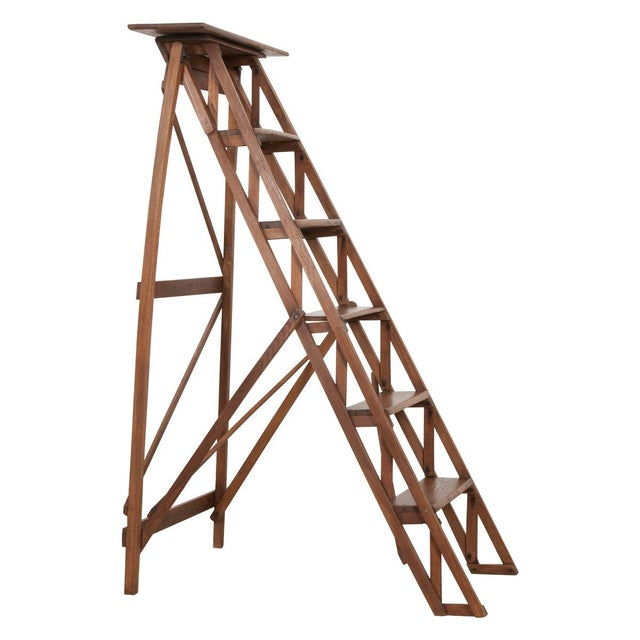 French Early 20th Century Oak Folding Ladder For Sale - Image 13 of 13