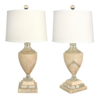 Traditional Alabaster Urn Form Table Lamps W/ Glass & Crystal -A Pair For Sale
