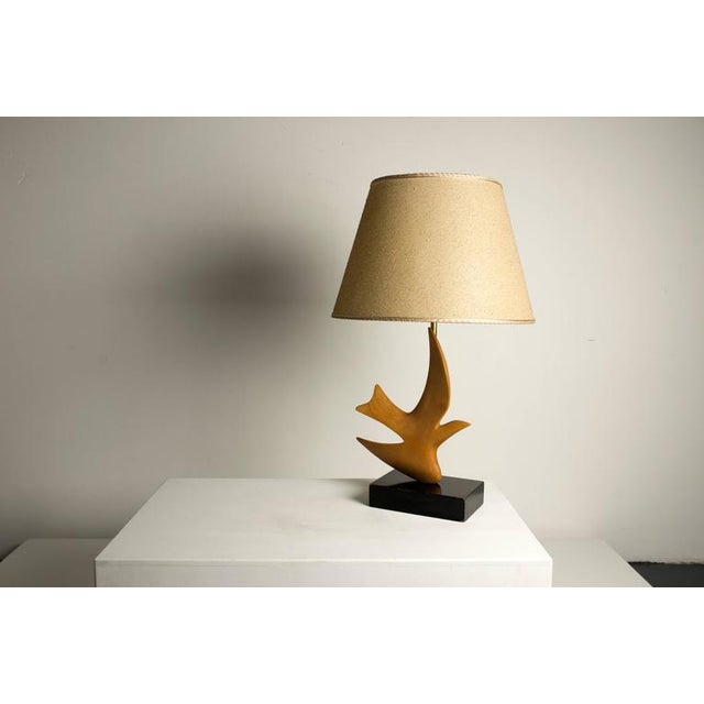 "Hansen Lighting Co. Clark Voorhees ""Bird Lamp"" for Hansen with Original Shade, Pair Available For Sale - Image 4 of 8"