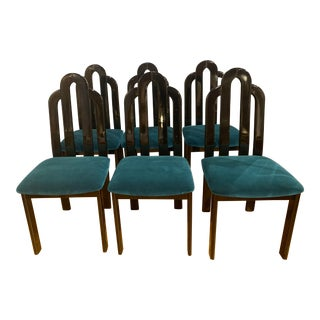 1970s Italian Black Lacquered Chairs With Peacock Blue Velvet - Set of 6 For Sale