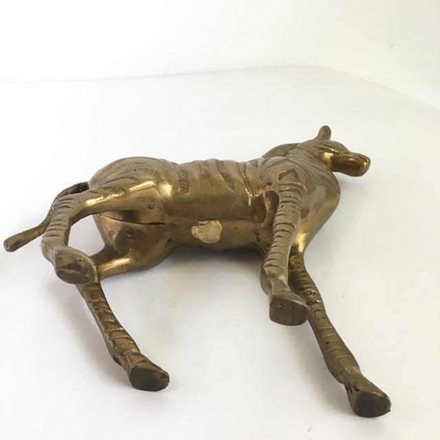 Vintage Brass Zebra Statue For Sale - Image 6 of 7