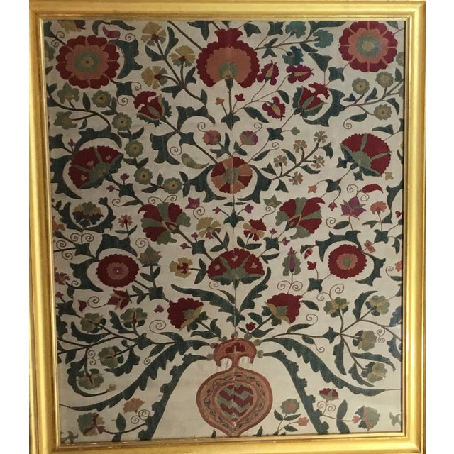 Asian Hand Embroidery Silk Suzani Textile, Framed For Sale - Image 3 of 13