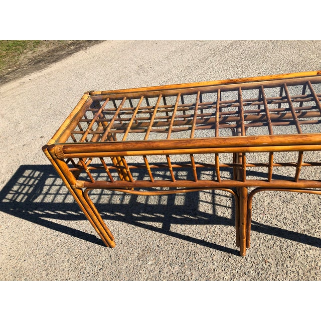 Boho Chic 1970s Boho Chic Rattan Console For Sale - Image 3 of 9