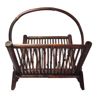 Vintage Bamboo Folding Magazine Rack