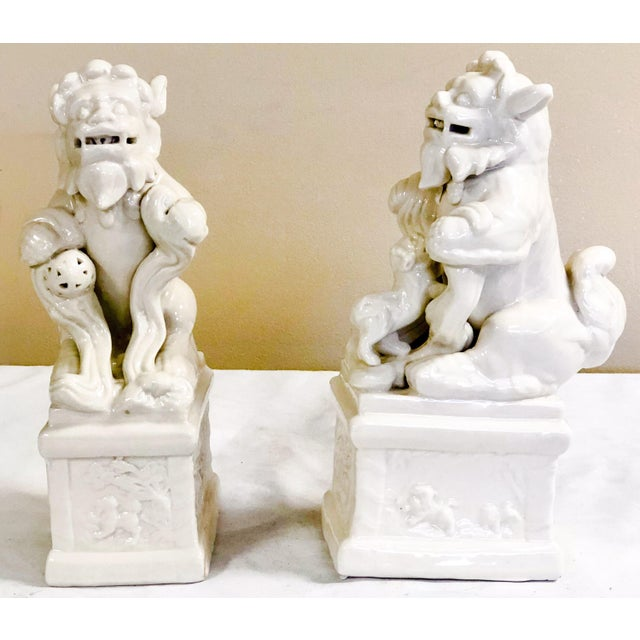 Italian Blanc De Chine Style Foo Dogs For Sale - Image 4 of 4