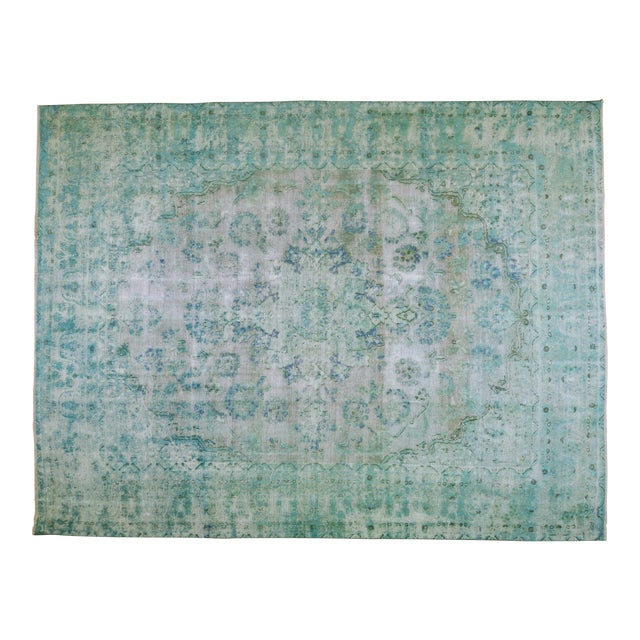 "1940s Boho Chic Persian Turoquoise Wool Kerman Rug - 9'10""x12'10"" For Sale"