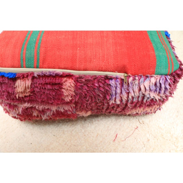 Vintage Moroccan Wool Pouf Cover For Sale - Image 9 of 13