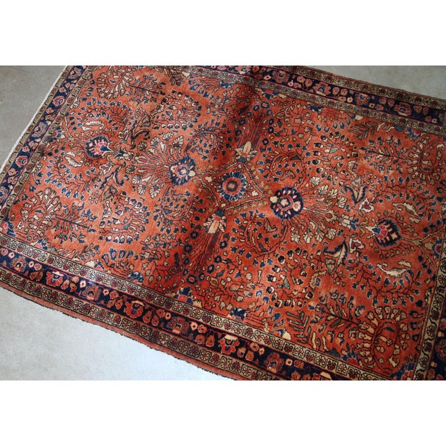 1920s 1920s, Handmade Antique Persian Sarouk Rug 3.5' X 5.5' For Sale - Image 5 of 6