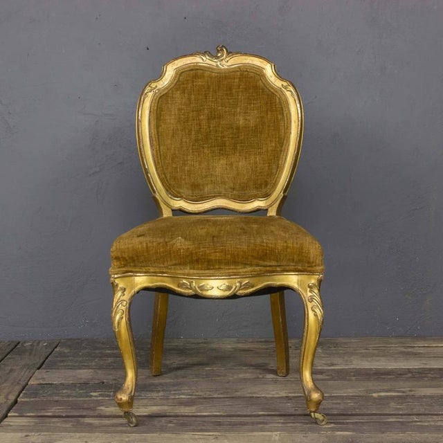 Late 19th Century Pair of Rococo Revival Giltwood Side Chairs For Sale - Image 5 of 11