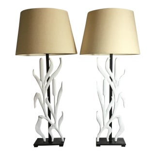 Abstract Cattail Iron Table Lamps - a Pair