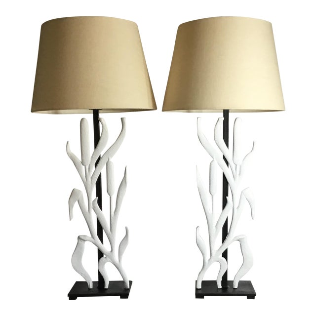 Abstract Cattail Iron Table Lamps - a Pair For Sale