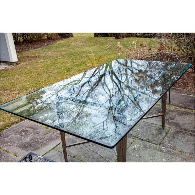Vintage Glass Top and Steel Rectangular Dining Table For Sale - Image 4 of 12