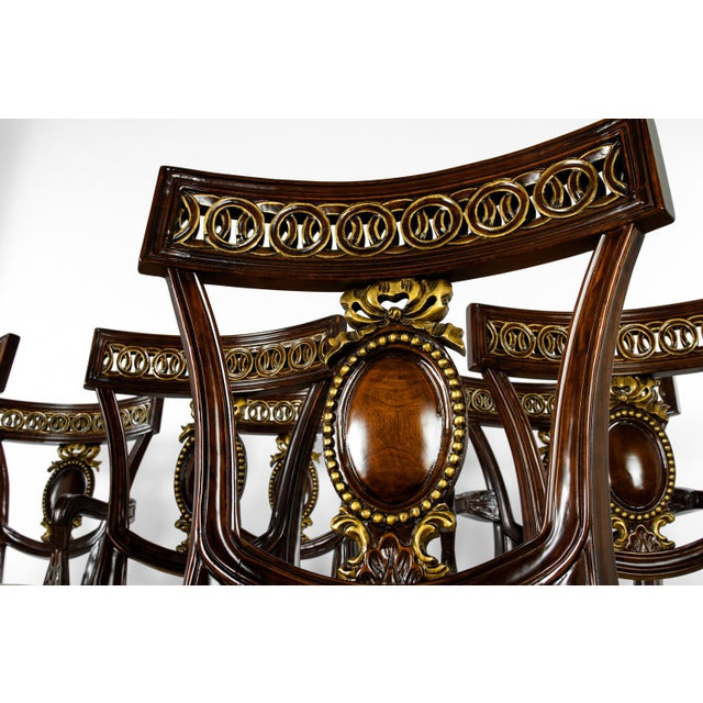 Contemporary Mid Century European Mahogany Wood Dining Chairs - Set of 8 For Sale - Image 3 of 5