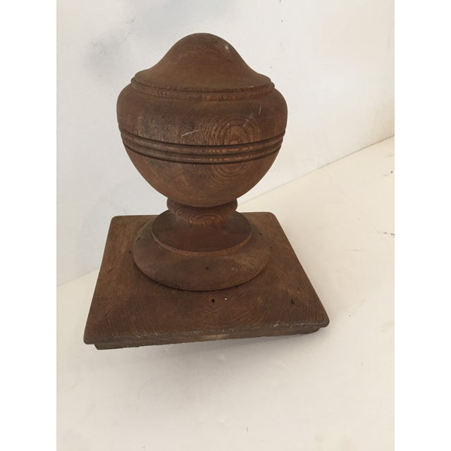 """Antique Walnut Stair Banister Turned Ball Tip or Newel Post Cap with 1""""Dia Dowel Pin and 7.5"""" Square Base and 8.5""""H Excellent"""