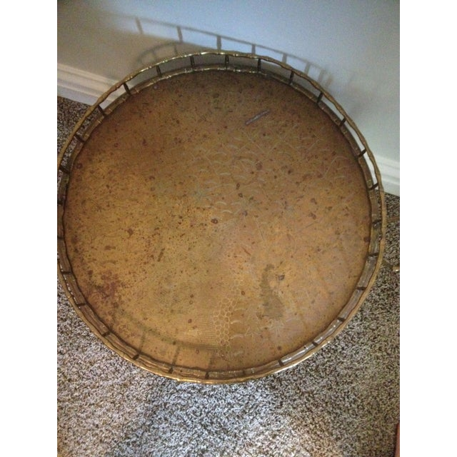 Antique Brass Bamboo Tray Table For Sale - Image 5 of 7