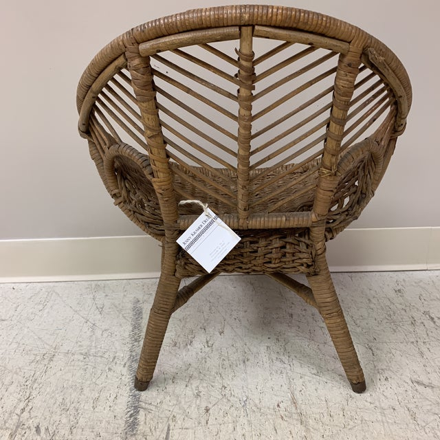 Gold 1920s Folk Art Wicker Child's Barrel Chair For Sale - Image 8 of 12