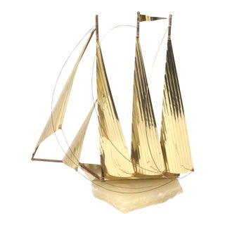"""Vintage 15"""" Tall Brass Clipper Ship on Marble Base Sailboat Office or Desk Decor For Sale"""