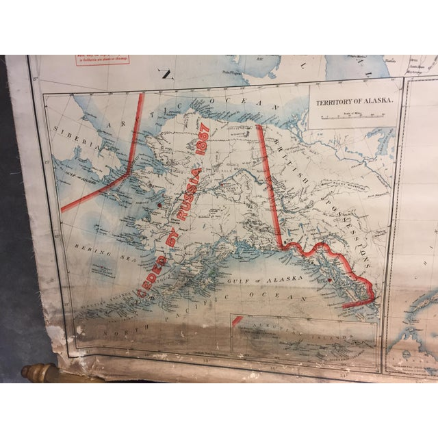 Tan 1900 Antique Department of the Interior USA & Territories Wall Map For Sale - Image 8 of 11