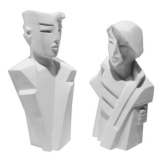 Karin Swildens White Deco Man and Woman Cast Sculptures For Sale