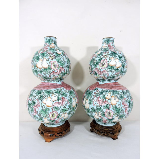 Rare Enamelled 'Huluping' Chinese Double Gourd Pink and Blue Vases With Wood Stands - a Pair For Sale In Tampa - Image 6 of 10