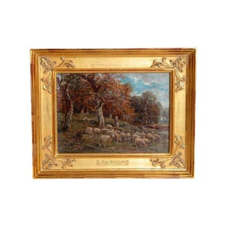 19th Century Oil Painting of Sheep Signed James Desvarreux For Sale