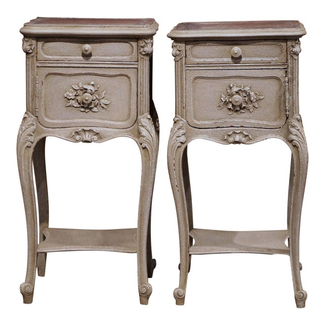 Pair of 19th Century French Louis XV Carved Painted Nightstands With Marble Top For Sale