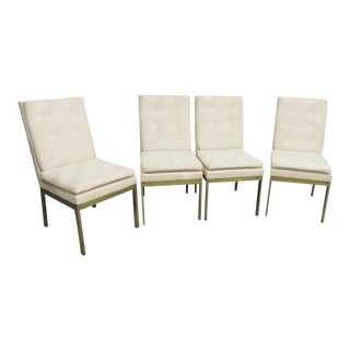 Mid-Century Modern Milo Baughman Brass Dining Chairs - Set of 4 For Sale