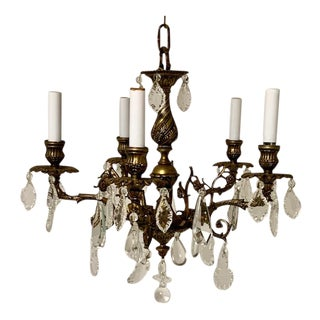 Crystal and Brass Chandelier For Sale