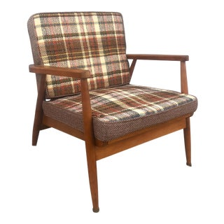 Mid Century Lounge Chair With Vintage Plaid Upholstery For Sale