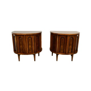 Mid Century Modern Walnut Nightstands Side- A Pair For Sale
