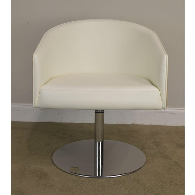 White Leather & Zebra Wood Barrel Back Pair Chrome Pedestal Swivel Lounge Chairs by Cape (F) For Sale - Image 11 of 13