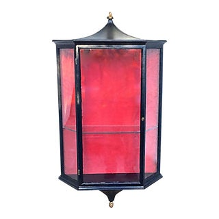 20th Century Chinoiserie Style Glass Display Hutch For Sale
