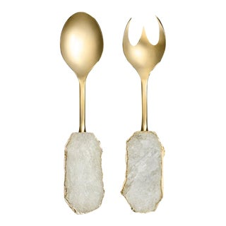 Scossa Salad Servers Crystal & 24k Gold, Set of 2 For Sale