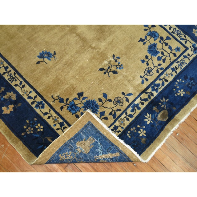 Blue Brown and Blue Antique Chinese Signatured Rug, 5' X 7'9'' For Sale - Image 8 of 9