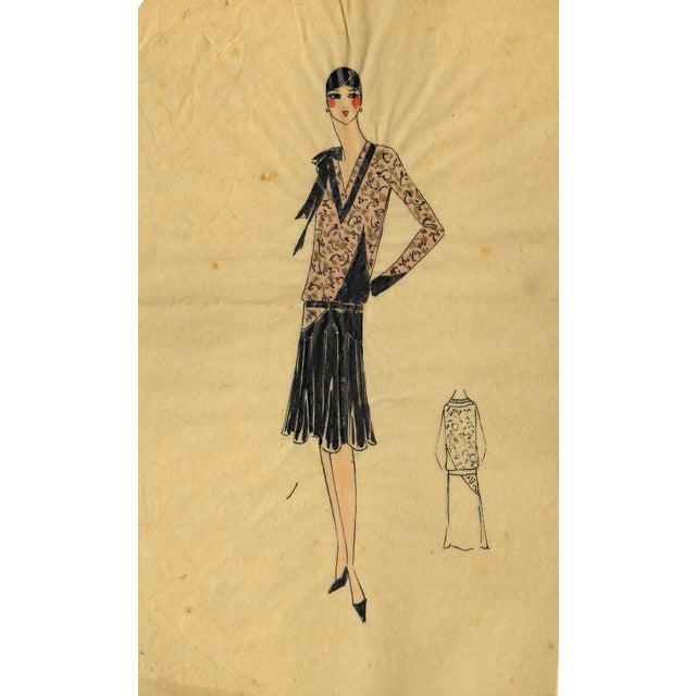 Original Parisian Fashion Watercolor For Sale