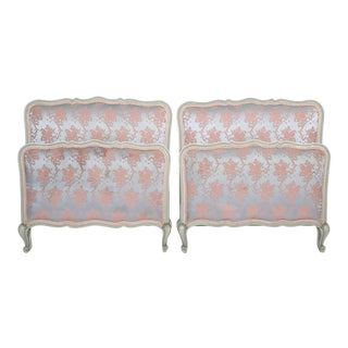 Pair of Louis XV Twin Beds With Blue and Pink Floral Upholstery For Sale