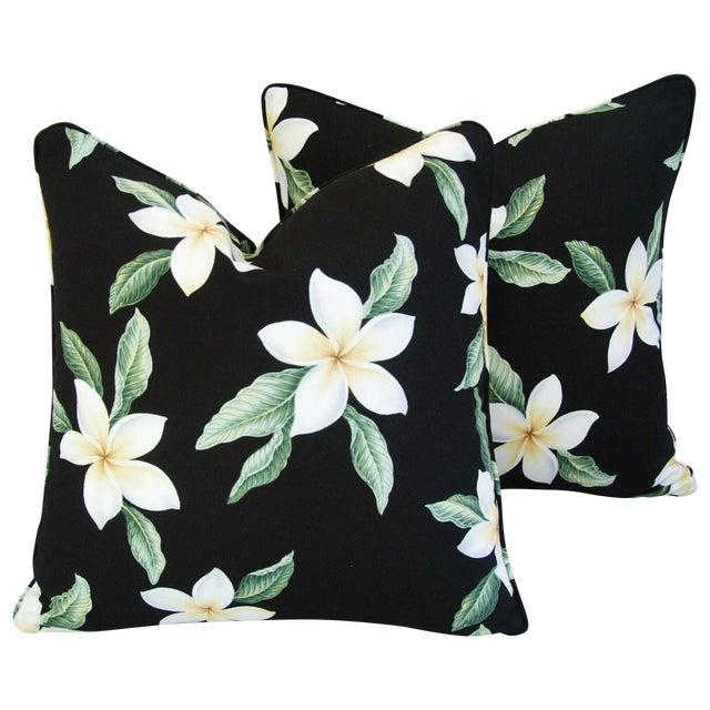 Custom Tropical Blossom Barkcloth Pillows - A Pair - Image 1 of 10