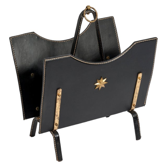 Black Stitched Leather Magazine Rack by Jacques Adnet For Sale - Image 8 of 8